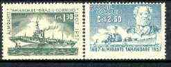 Brazil 1957 150th Anniversary of Brazilian Navy set of 2 unmounted mint, SG 969-70*