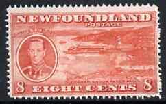 Newfoundland 1937 KG6 Coronation 8c (Paper Mills) line perf 14-13.5 mounted mint, SG 260