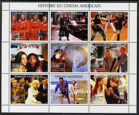 Madagascar 1999 History of American Cinema perf sheetlet #2 containing complete set of 9 values unmounted mint
