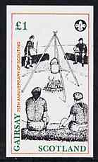 Gairsay 1982 75th Anniversary of Scouting imperf souvenir sheet (Campfire �1 value) unmounted mint