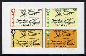 Nagaland 1982 75th Anniversary of Scouting (Knots) imperf  set of 4 values (20c to 80c) unmounted mint