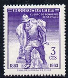 Chile 1963 Santiago Fire Brigade 3c (Postage) unmounted mint SG 547, Mi 622*