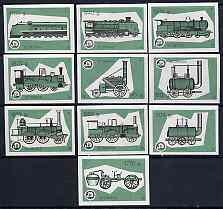 Match Box Labels - complete set of 10 Locomotives (green background), superb unused condition (Yugoslavian Drava Series)