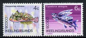 Cocos (Keeling) Islands 1969 Fish, the set of 2 values from 1969 Decimal Currency def set unmounted mint, SG 11 & 13