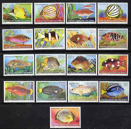 Cocos (Keeling) Islands 1979 Fish definitive set 17 values complete unmounted mint, SG 34-47 (blocks or gutter pairs available pro-rata)