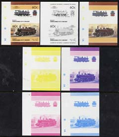 St Vincent - Bequia 1985 Locomotives #4 (Leaders of the World) 60c (0-4-4 Class 4500 Japan) set of 7 imperf se-tenant progressive proof pairs comprising the four individu...