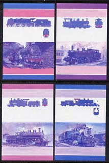 St Vincent - Bequia 1985 Locomotives #4 (Leaders of the World) 4 values (25c, 55c, 60c & 75c) each in imperf se-tenant proof pairs in magenta & blue only unmounted mint