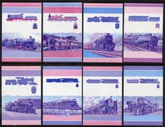 St Vincent - Bequia 1984 Locomotives #1 (Leaders of the World) set of 16 each in imperf se-tenant proof pairs in magenta & blue only unmounted mint