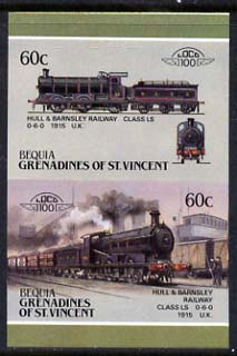 St Vincent - Bequia 1987 Locomotives #5 (Leaders of the World) 60c (0-6-0 Hull & Barnsley Class LS) imperf se-tenant proof pair in issued colours from limited printing unmounted mint*