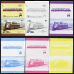 St Vincent - Bequia 1987 Locomotives #5 (Leaders of the World) $1 (GWR Diesel Railcar) set of 6 imperf se-tenant progressive proof pairs comprising the four individual colours, 2-colour and all 4-colour composites unmounted mint