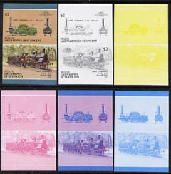 St Vincent - Bequia 1987 Locomotives #5 (Leaders of the World) $2 (2-2-2 LNWR Cornwall) set of 6 imperf se-tenant progressive proof pairs comprising the four individual colours, 2-colour and all 4-colour composites unmounted mint