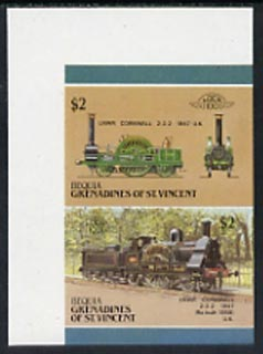 St Vincent - Bequia 1987 Locomotives #5 (Leaders of the World) $2 (2-2-2 LNWR Cornwall) imperf se-tenant proof pair in issued colours from limited printing unmounted mint*