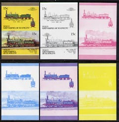 St Vincent - Bequia 1987 Locomotives #5 (Leaders of the World) 15c (2-4-0 SER Class 118) set of 6 imperf se-tenant progressive proof pairs comprising the four individual colours, 2-colour and all 4-colour composites unmounted mint