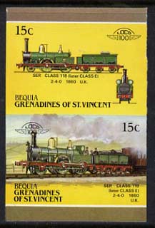 St Vincent - Bequia 1987 Locomotives #5 (Leaders of the World) 15c (2-4-0 SER Class 118) imperf se-tenant proof pair in issued colours from limited printing unmounted mint*