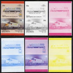 St Vincent - Bequia 1987 Locomotives #5 (Leaders of the World) 50c (Louisville & Nashville Class U25B) set of 6 imperf se-tenant progressive proof pairs comprising the four individual colours, 2-colour and all 4-colour composites unmounted mint