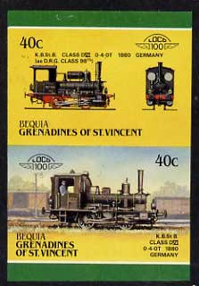 St Vincent - Bequia 1987 Locomotives #5 (Leaders of the World) 40c (0-4-0 Class DVI Germany) imperf se-tenant proof pair in issued colours from limited printing unmounted mint*