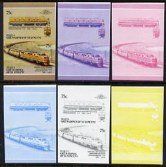 St Vincent - Bequia 1987 Locomotives #5 (Leaders of the World) 75c (Denver & Rio Grande CC) set of 6 imperf se-tenant progressive proof pairs comprising the four individual colours, 2-colour and all 4-colour composites unmounted mint