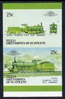 St Vincent - Bequia 1987 Locomotives #5 (Leaders of the World) 25c (0-6-0 KPEV Class G3) imperf se-tenant proof pair with red omitted unmounted mint*