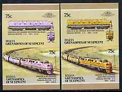 St Vincent - Bequia 1987 Locomotives #5 (Leaders of the World) 75c (Denver & Rio Grande CC) imperf se-tenant pair with yellow missing from loco (loco is pink) plus imperf pair as normal unmounted mint