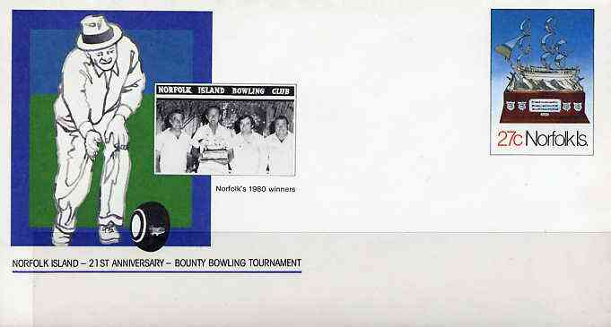 Norfolk Island 1982c 27c pre-stamped p/stat envelope commemorating 21st Anniversary of Norfolk Island Bowling Tournament