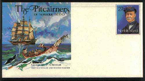Norfolk Island 1982c 'The Pitcairners' 27c pre-stamped p/stat envelope commemorating George Christian (Whaler & Mariner)