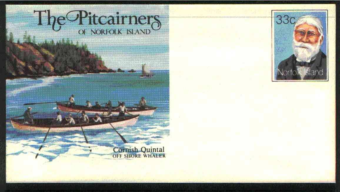 Norfolk Island 1982c 'The Pitcairners' 33c pre-stamped p/stat envelope commemorating Cornish Quintal (Whaler)