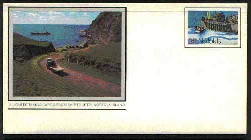 Norfolk Island 1982c 'Island Life' 24c pre-stamped p/stat envelope featuring A Lighter taking cargo from ship to jetty