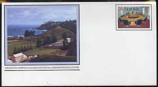Norfolk Island 1982c 'Island Life' 24c pre-stamped p/stat envelope featuring Administrative Centre