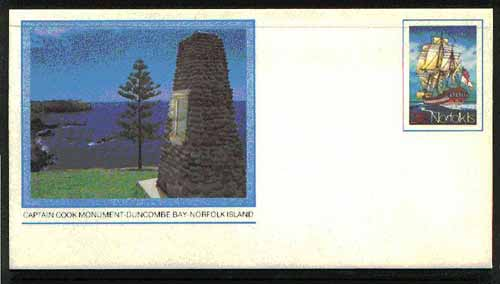 Norfolk Island 1982c 'Island Life' 24c pre-stamped p/stat envelope featuring Captain Cook Monument