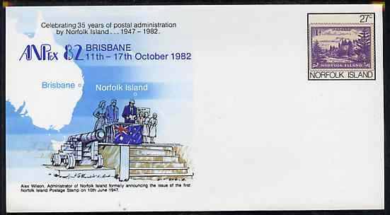 Norfolk Island 1982 'ANPEX 82' 27c pre-stamped p/stat envelope commemorating First Norfolk Is Stamp