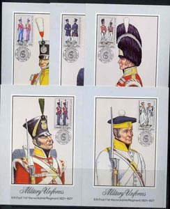 Ciskei 1983 British Military Uniforms #1 set of 5 each used on individual appropriate postcard (maximum card) with special cancellation, SG 47-51