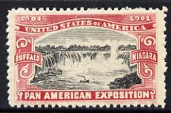 Cinderella - United States 1901 Pan American Exposition perforated label showing Niagara Falls in red & black*