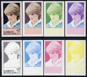 Gairsay 1982 Princess Di's 21st Birthday imperf souvenir sheet (\A31 value) set of 8 progressive proofs comprising the 4 individual colours plus two 2-colour, 3 and all 4-colour composites unmounted mint