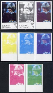Grunay 1982 Princess Di's 21st Birthday imperf souvenir sheet (\A31 value) set of 8 progressive proofs comprising the 4 individual colours plus two 2-colour, 3 and all 4-colour composites unmounted mint