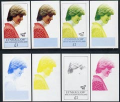 Eynhallow 1982 Princess Di's 21st Birthday imperf souvenir sheet (\A31 value) set of 8 progressive proofs comprising the 4 individual colours plus two 2-colour, 3 and all 4-colour composites unmounted mint
