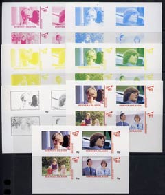 Bernera 1982 Princess Di's 21st Birthday imperf sheetlet containing 4 values, the set of 7 progressive colour proofs comprising the 4 individual colours and various colour combinations incl completed design, unmounted mint