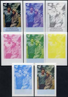 Eynhallow 1982 Princess Di's 21st Birthday imperf deluxe sheet (\A32 value) set of 8 progressive proofs comprising the 4 individual colours plus two 2-colour, 3 and all 4-colour composites unmounted mint, stamps on royalty     diana