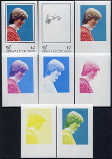 Grunay 1982 Princess Di's 21st Birthday imperf deluxe sheet (\A32 value) set of 8 progressive proofs comprising the 4 individual colours plus two 2-colour, 3 and all 4-colour composites unmounted mint