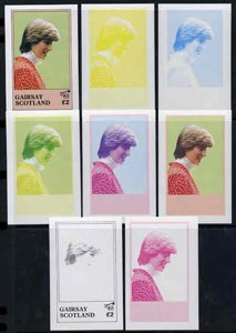 Gairsay 1982 Princess Di's 21st Birthday deluxe sheet (\A32 value) the set of 8 imperf progressive colour proofs comprising the four individual colours plus  two 2-colour, 3-colour and all 4-colour composites unmounted mint