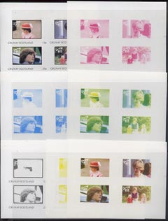 Grunay 1982 Princess Di's 21st Birthday imperf sheetlet containing set of 4 values, the set of 7 progressive colour proofs comprising the 4 individual colours and various colour combinations incl completed design unmounted mint