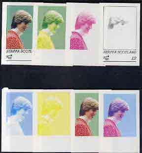 Staffa 1982 Princess Di's 21st Birthday deluxe sheet (\A32 value) the set of 8 imperf progressive colour proofs comprising the four individual colours plus  two 2-colour, 3-colour and all 4-colour composites unmounted mint