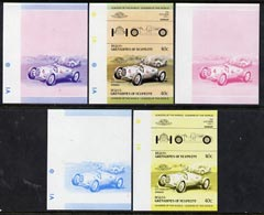 St Vincent - Bequia 1984 Cars #1 (Leaders of the World) 40c (1936 Auto Union) set of 5 imperf se-tenant progressive colour proof pairs comprising two individual colours, two 2-colour composites plus all 4-colour final design unmounted mint