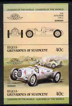 St Vincent - Bequia 1984 Cars #1 (Leaders of the World) 40c (1936 Auto Union) imperf se-tenant proof pair in issued colours from limited printing unmounted mint*