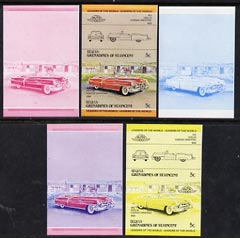 St Vincent - Bequia 1984 Cars #1 (Leaders of the World) 5c (1953 Cadillac) set of 5 imperf se-tenant progressive colour proof pairs comprising two individual colours, two 2-colour composites plus all 4-colour final design unmounted mint