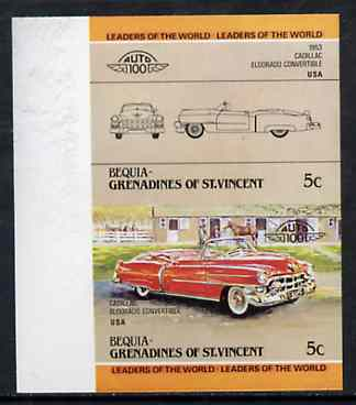 St Vincent - Bequia 1984 Cars #1 (Leaders of the World) 5c (1953 Cadillac) imperf se-tenant proof pair in issued colours from limited printing unmounted mint*