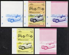 St Vincent - Bequia 1984 Cars #1 (Leaders of the World) $1 (1907 Rolls Royce) set of 5 imperf se-tenant progressive colour proof pairs comprising two individual colours, two 2-colour composites plus all 4-colour final design unmounted mint