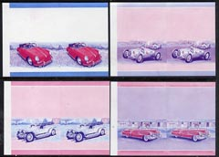 St Vincent - Bequia 1984 Cars #1 (Leaders of the World) set of 8 (4 se-tenant pairs) each in imperf progressive colour proofs in magenta & blue only unmounted mint
