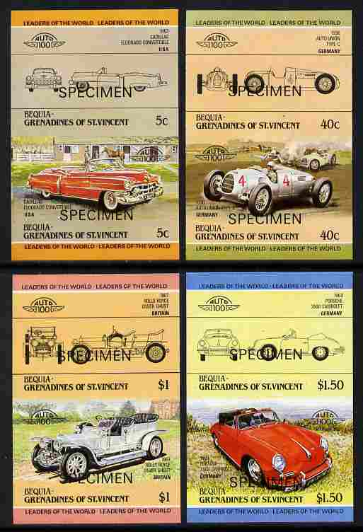 St Vincent - Bequia 1984 Cars #1 (Leaders of the World) imperf set of 8 (4 imperf se-tenant pairs) each overprinted SPECIMEN - scarce from printer