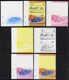 St Vincent - Bequia 1984 Cars #2 (Leaders of the World) 10c (1924 Leyland Eight) set of 7 imperf se-tenant progressive colour proof pairs comprising the four individual colours plus 2, 3 and all 4-colour composites unmounted mint