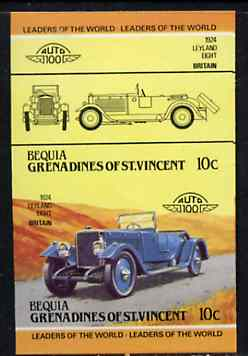 St Vincent - Bequia 1984 Cars #2 (Leaders of the World) 10c (1924 Leyland Eight) imperf se-tenant proof pair in issued colours from limited printing unmounted mint*